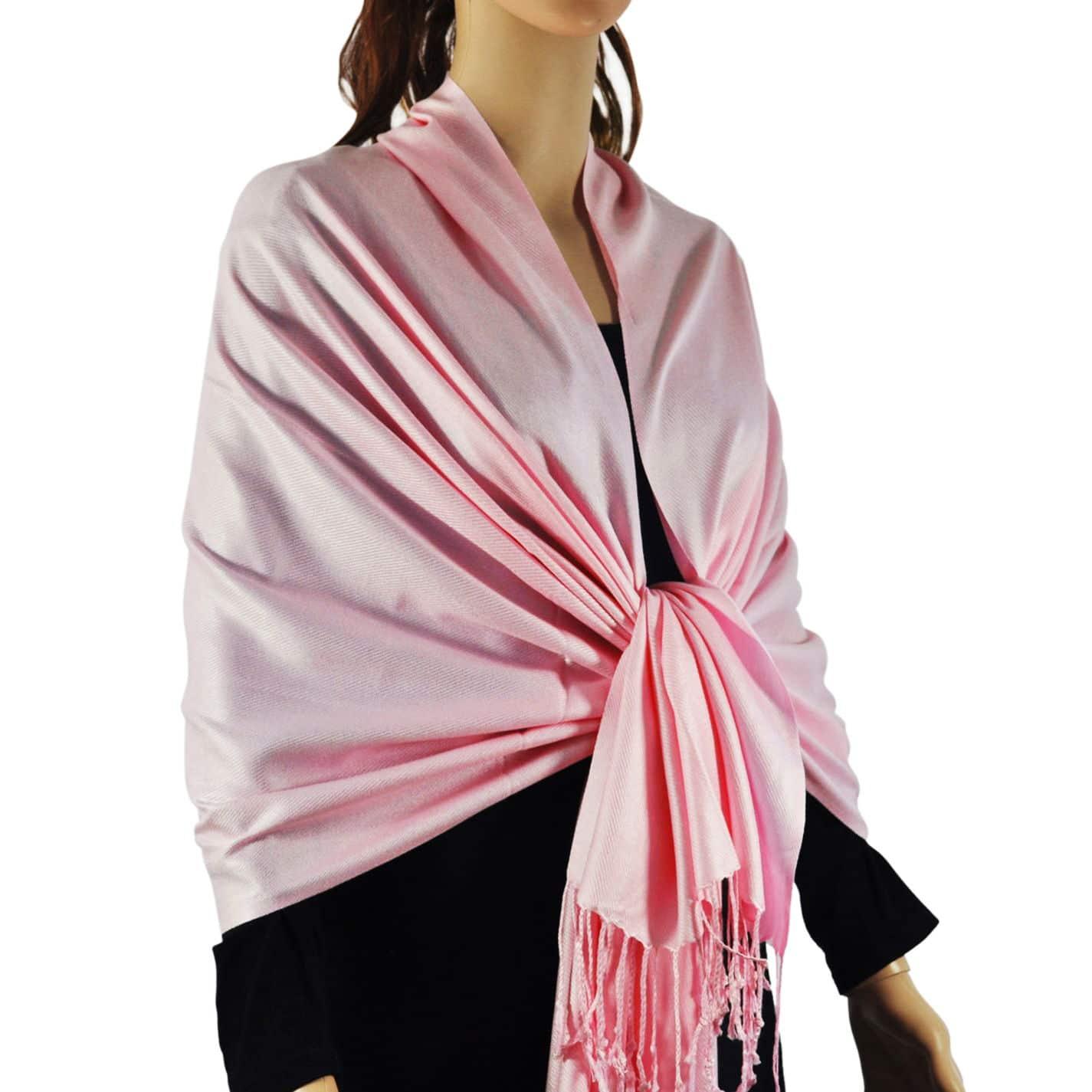 Solid Silky Wedding Pashmina Light Pink